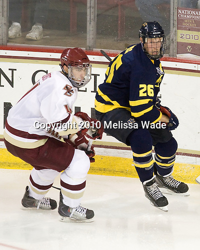 Tommy Cross (BC - 4), Adam Ross (Merrimack - 26) - The Merrimack College Warriors visited the Boston College Eagles on Friday, October 29, 2010, at Conte Forum in Chestnut Hill, MA.