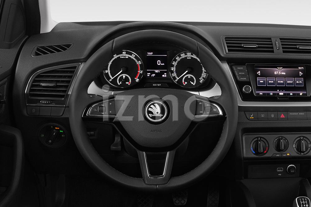 Car pictures of steering wheel view of a 2019 Skoda Fabia Ambition 5 Door Hatchback
