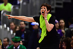 COLUMBUS, OH - APRIL 1: Notre Dame Fighting Irish head coach Muffet McGraw shouts to her team as they play agaonst Mississippi State during the championship game of the 2018 NCAA Division I Women's Basketball Final Four at Nationwide Arena in Columbus, Ohio. (Photo by Justin Tafoya/NCAA Photos via Getty Images)