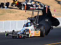 Jul 30, 2016; Sonoma, CA, USA; NHRA top fuel driver Clay Millican during qualifying for the Sonoma Nationals at Sonoma Raceway. Mandatory Credit: Mark J. Rebilas-USA TODAY Sports