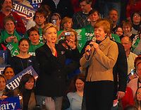 Representative Tammy Baldwin introduces Hillary Clinton at a rally Monday night, 2/18/08, at Monona Terrace in Madison, Wisconsin