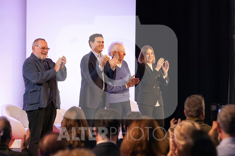 "(LtoR) Philosopher Fernando Savater, president of citizen Albert Rivera, dramatist Albert Boadella and counsellor of culture and tourism Marta Rivera, during the citizen meeting ""Espana en marcha"". October 24, 2019. (ALTERPHOTOS/Johana Hernandez)"