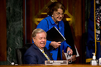 United States Senator Lindsey Graham (Republican of South  Carolina), Chairman, US Senate Judiciary Committee, left, and US Senator Dianne Feinstein (Democrat of California), Ranking Member, US Senate Judiciary Committee, right, arrive for a committee hearing on Capitol Hill in Washington, Tuesday, June 9, 2020, to examine COVID-19 fraud, focusing on law enforcement's response to those exploiting the pandemic. <br /> Credit: Andrew Harnik / Pool via CNP/AdMedia