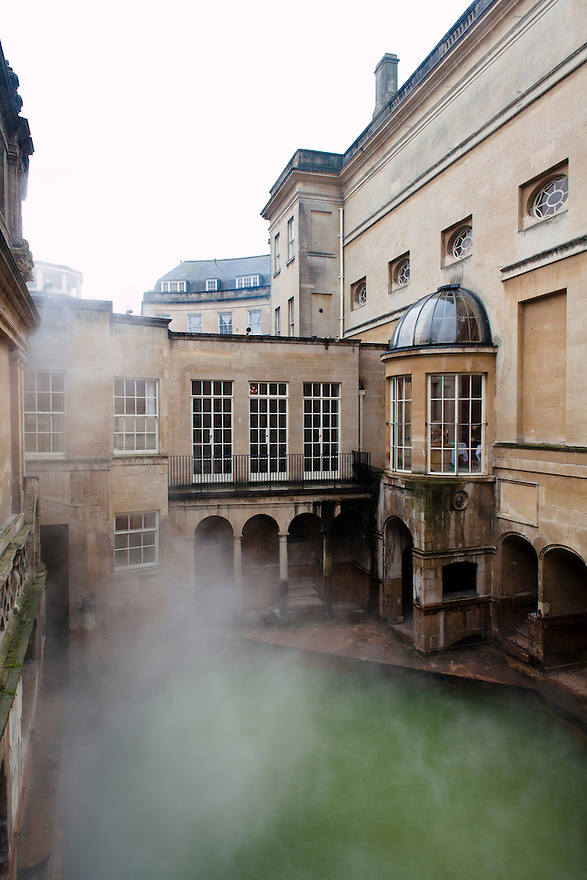 The Kings Bath at the Roman Baths Museum, Bath, UK, February 13, 2016. The UNESCO World Heritage city of Bath is famed for its hot spa that dates back to Roman times and for its Georgian architecture. For much of its history the city has been a popular holiday resort. It is the only hot spa in the UK.