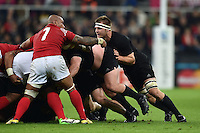 Sam Cane of New Zealand in action at a scrum. Rugby World Cup Pool C match between New Zealand and Tonga on October 9, 2015 at St James' Park in Newcastle, England. Photo by: Patrick Khachfe / Onside Images