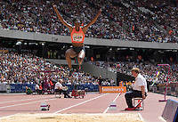 Lorraine UGEN of GBR in the Long Jump during the Sainsbury's Anniversary Games, Athletics event at the Olympic Park, London, England on 25 July 2015. Photo by Andy Rowland.