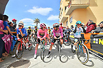 The leaders jerseys lined up for the start of Stage 4 of the 2019 Giro d'Italia, running 235km from Orbetello to Frascati, Italy. 14th May 2019<br /> Picture: Massimo Paolone/LaPresse | Cyclefile<br /> <br /> All photos usage must carry mandatory copyright credit (© Cyclefile | Massimo Paolone/LaPresse)