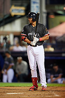Reading Fightin Phils Darick Hall (13) bats during an Eastern League game against the Trenton Thunder on August 16, 2019 at FirstEnergy Stadium in Reading, Pennsylvania.  Trenton defeated Reading 7-5.  (Mike Janes/Four Seam Images)