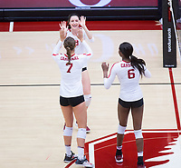 STANFORD, CA - November 4, 2018: Michaela Keefe, Mackenzie Fidelak, Tami Alade at Maples Pavilion. No. 2 Stanford Cardinal defeated the Utah Utes 3-0.