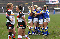 Picture by Anna Gowthorpe/SWpix.com - 15/04/2018 - Rugby League - Womens Super League - Bradford Bulls v Leeds Rhinos - Coral Windows Stadium, Bradford, England - Leeds Rhinos celebrate a try scored by Rhiannon Marshall