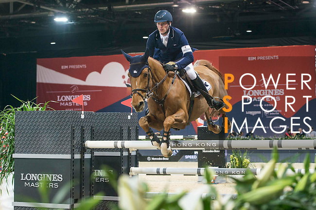 Daniel Deusser of Germany riding Happiness van T Paradijs competes during the Longines Speed Challenge, part of the Longines Masters of Hong Kong on 11 February 2017 at the Asia World Expo in Hong Kong, China. Photo by Marcio Rodrigo Machado / Power Sport Images