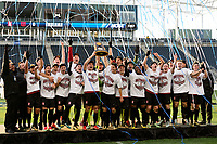 Chester, PA - Sunday December 10, 2017: Stanford University celebrates winning the College Cup Stanford University defeated Indiana University 1-0 in double overtime during the NCAA 2017 Men's College Cup championship match at Talen Energy Stadium.