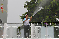 Alexander Noren celebrates winning the 2017 BMW PGA Championship by spraying champagne during the BMW PGA Golf Championship at Wentworth Golf Course, Wentworth Drive, Virginia Water, England on 28 May 2017. Photo by Steve McCarthy/PRiME Media Images.