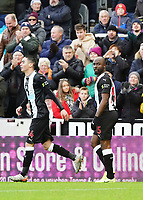 30th November 2019; St James Park, Newcastle, Tyne and Wear, England; English Premier League Football, Newcastle United versus Manchester City; Jetro Willems of Newcastle United is applauded by the Newcastle fans after he scores in the 25th minute to make it 1-1 with Almirón - Strictly Editorial Use Only. No use with unauthorized audio, video, data, fixture lists, club/league logos or 'live' services. Online in-match use limited to 120 images, no video emulation. No use in betting, games or single club/league/player publications