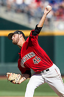 Texas Tech Red Raiders pitcher Hayden Howard (45) delivers a pitch to the plate against the TCU Horned Frogs in Game 3 of the NCAA College World Series on June 19, 2016 at TD Ameritrade Park in Omaha, Nebraska. TCU defeated Texas Tech 5-3. (Andrew Woolley/Four Seam Images)