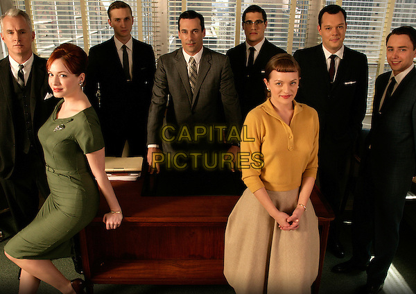 JOHN SLATTERY, CHRISTINA HENDRICKS, AARON STATON, JON HAMM, RICH SOMMER, ELISABETH MOSS, MICHAEL GLADIS, VINCENT KARTHEISER<br /> in Mad Men (Season 1)<br /> *Filmstill - Editorial Use Only*<br /> CAP/FB<br /> Image supplied by Capital Pictures