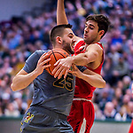 18 February 2018: University of Vermont Forward Drew Urquhart, a Senior from Vancouver, British Columbia, in action against the Hartford Hawks at Patrick Gymnasium in Burlington, Vermont. The Catamounts fell to the Hawks 69-68 in their America East Conference matchup. Mandatory Credit: Ed Wolfstein Photo *** RAW (NEF) Image File Available ***