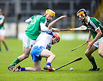 XXjob 06/05/2015 SPORT<br /> Limerick Darragh Carroll &amp; Waterford's Darragh Lyons  in Action during their 2015 Electric Ireland Munster GAA Hurling Minor Championship.<br /> Picture  Credit Brian Gavin Press 22