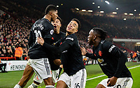 Manchester United's Marcus Rashford celebrates scoring his side's third goal <br /> <br /> Photographer Alex Dodd/CameraSport<br /> <br /> The Premier League - Sheffield United v Manchester United - Sunday 24th November 2019 - Bramall Lane - Sheffield<br /> <br /> World Copyright © 2019 CameraSport. All rights reserved. 43 Linden Ave. Countesthorpe. Leicester. England. LE8 5PG - Tel: +44 (0) 116 277 4147 - admin@camerasport.com - www.camerasport.com