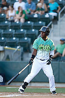 Edwin Moreno #16 of the Eugene Emeralds bats against the Boise Hawks at PK Park on July 25, 2013 in Eugene, Oregon. Eugene defeated Boise, 5-4. (Larry Goren/Four Seam Images)