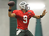 Bryce Petty #9 throws a pass during New York Jets Training Camp at the Atlantic Health Jets Training Center in Florham Park, NJ on Monday, Aug. 7, 2017.