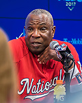 7 October 2017: Washington Nationals Manager Dusty Baker answers questions from the media prior to the second game of the NLDS against the Chicago Cubs at Nationals Park in Washington, DC. The Cubs shut out the Nationals 3-0 to take a 1-0 lead in their best of five Postseason series. Mandatory Credit: Ed Wolfstein Photo *** RAW (NEF) Image File Available ***