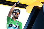 Green Jersey Peter Sagan (SVK) Bora-Hansgrohe at sign on before the start of Stage 4 of the 2018 Tour de France running 195km from La Baule to Sarzeau, France. 10th July 2018. <br /> Picture: ASO/Alex Broadway | Cyclefile<br /> All photos usage must carry mandatory copyright credit (&copy; Cyclefile | ASO/Alex Broadway)