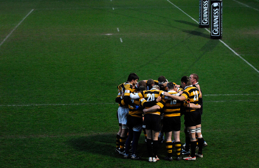Photo: Richard Lane..London Wasps training session at Adams Park. 29/03/2007. .Wasps forwards huddle.