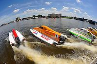 SST-45 class heat race start (L to R): Bud Nollman (#6), Rob Rinker (#1), Paul Trolian (#94), Milo Degugas (#83) and Steve Merleau (#66)..Bay City River Roar, Bay City,Michigan USA.26-2821 June, 2009..©F. Peirce Williams 2009 USA.F.Peirce Williams.photography.ref: RAW (.NEF) File Available