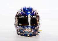 Jan 16, 2013; Palm Beach Gardens, FL, USA; Detailed view of the helmet of NHRA top fuel driver Antron Brown during a portrait. Mandatory Credit: Mark J. Rebilas-