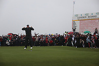 Shane Lowry(AM)winner of the irish open after 3 playoff holes against Robert Rock at the final round at the 3 Irish open in Co Louth Golf Club..Shane pictured after sinking the winning putt..Photo: Fran Caffrey/www.golffile.ie..