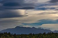 Lenticular clouds over mount Katolinat, Katmai National Park, Alaska.