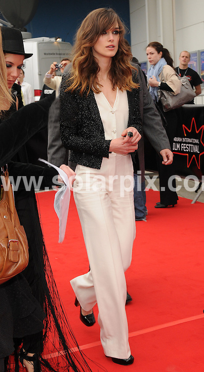 **ALL ROUND PICTURES FROM SOLARPIX.COM**.**WORLDWIDE SYNDICATION RIGHTS**.Red carpet arrivals at the World Premiere of 'The Edge of Love'.  Held at Cineworld, Edinburgh, during the Edinburgh Film Festival. .This Pic:Keira Knightley..JOB REF:6675     SSD     DATE:18.06.08.**MUST CREDIT SOLARPIX.COM OR DOUBLE FEE WILL BE CHARGED* *UNDER NO CIRCUMSTANCES IS THIS IMAGE TO BE REPRODUCED FOR ANY ONLINE EDITION WITHOUT PRIOR PERMISSION*