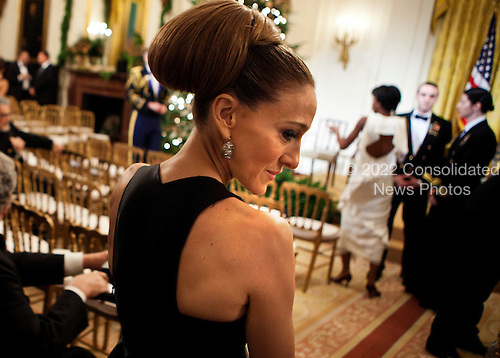 Actress Sarah Jessica Parker waits to be seated for a Kennedy Center Honors reception in the East Room of the White House, Sunday, December 4, 2011 in Washington, DC.  For their accomplishments and contributions to the arts actress Meryl Streep, singer Neil Diamond, actress Barbara Cook, musician Yo-Yo Ma, and musician Sonny Rollins where etched recognized as this year's recipients of the Kennedy Center Honors..Credit: Brendan Smialowski / Pool via CNP