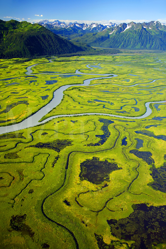 Aerial Copper River Delta, Chugach National Forest, Alaska.