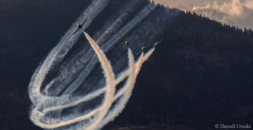 Fine Art Photograph of the Canadian Snowbirds CT-114 Tutor Jets flying above the  Okanagan Valley of British Columbia Canada.