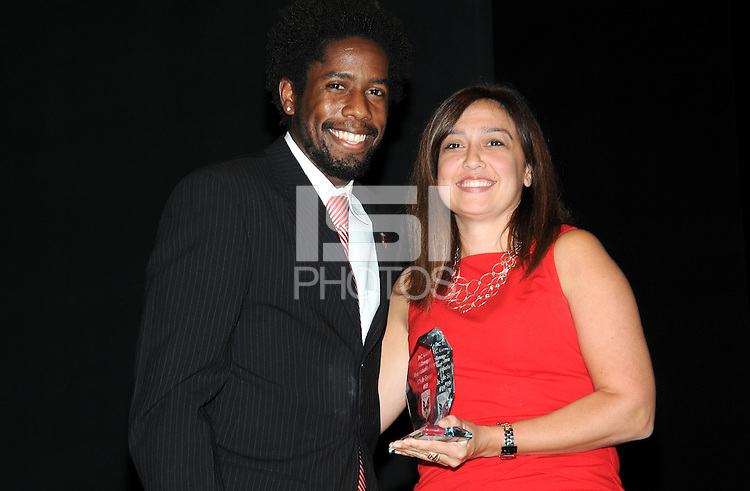 DC United midfielder Clyde Simms receiving the Volkswagen Most Valuable Player award.    At the 6th Annual DC United Awards Presentation ,at the Atlas Performing Arts Center in Washington DC ,Wednesday October 27, 2009.