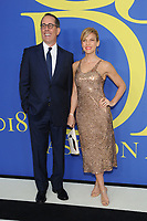 BROOKLYN, NY - JUNE 4: Jerry Seinfeld and Jessica Seinfeld at the 2018 CFDA Fashion Awards at the Brooklyn Museum in New York City on June 4, 2018. <br /> CAP/MPI/JP<br /> &copy;JP/MPI/Capital Pictures