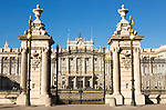 Gates to Plaza de la Armeria, Armory Square, Palacio Real royal palace, Madrid, Spain