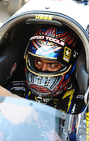 Sept. 25, 2011; Ennis, TX, USA: NHRA top fuel dragster driver Antron Brown during the Fall Nationals at the Texas Motorplex. Mandatory Credit: Mark J. Rebilas-