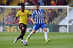 Pascal Grob of Brighton & Hove Albion is challenged by Christian Kabasele of Watford during the premier league match at the Vicarage Road Stadium, Watford. Picture date 26th August 2017. Picture credit should read: Robin Parker/Sportimage