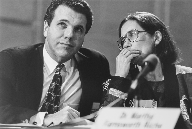 Dr. Everett Ehrlich and Martha Riche, Director of Census Bureau on Feb. 28, 1996. (Photo by Laura Patterson/CQ Roll Call via Getty Images)