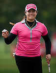 CHON BURI, THAILAND - FEBRUARY 16:  Ariya Jutamughrn of Thailand waves to the crowd after a putt on the 14th green during day one of the LPGA Thailand at Siam Country Club on February 16, 2012 in Chon Buri, Thailand.  Photo by Victor Fraile / The Power of Sport Images
