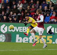 2nd February 2020; Turf Moor, Burnley, Lancashire, England; English Premier League Football, Burnley versus Arsenal; Pierre-Emerick Aubameyang of Arsenal crosses the ball