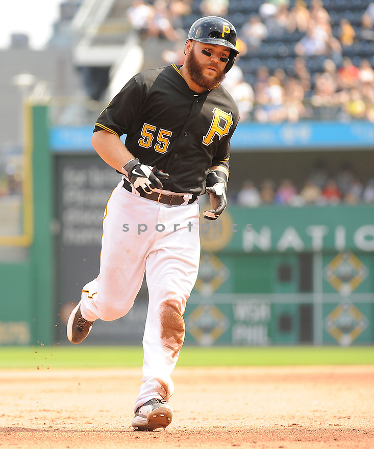 Pittsburgh Pirates Russell Martin (55) during a game against the St. Louis Cardinals on August 27, 2014 at PNC Park in Pittsburgh PA. The Pirates beat the Cardinals 3-1.