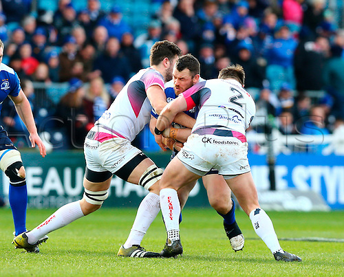 05.03.2016. RDS Arena, Dublin, Ireland. Guinness Pro12 Championship. Leinster versus Ospreys. Cian Healy (Leinster) drives in to contact with Rory Thornton (Ospreys) and Sam Parry (Ospreys).