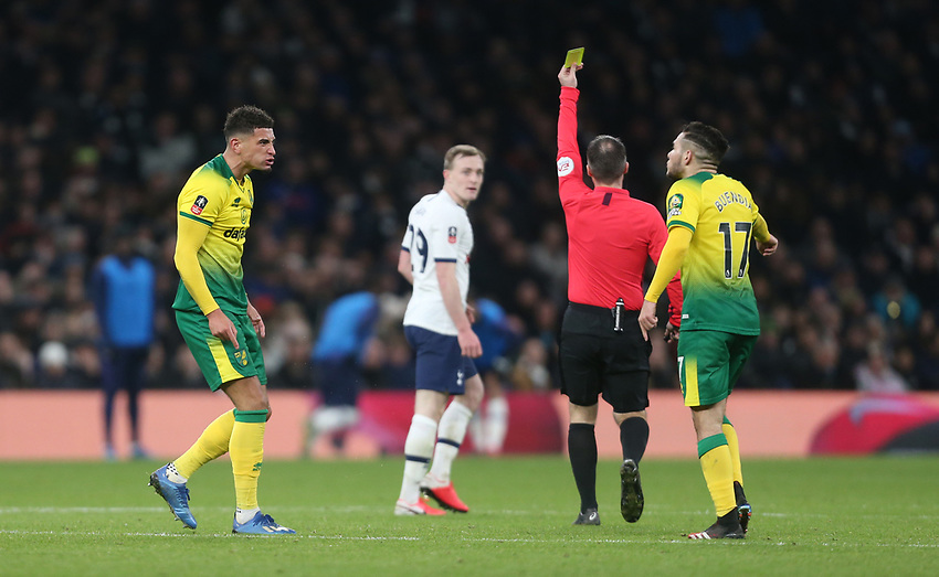 Norwich City's Ben Godfrey and Emi Buendia argue amongst themselves <br /> <br /> Photographer Rob Newell/CameraSport<br /> <br /> The Emirates FA Cup Fifth Round - Tottenham Hotspur v Norwich City - Wednesday 4th March 2020 - Tottenham Hotspur Stadium - London<br />  <br /> World Copyright © 2020 CameraSport. All rights reserved. 43 Linden Ave. Countesthorpe. Leicester. England. LE8 5PG - Tel: +44 (0) 116 277 4147 - admin@camerasport.com - www.camerasport.com