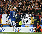 Hajduk Split fans bait Wayne Rooney of Everton during the Europa League Qualifying Play Offs 1st Leg match at Goodison Park Stadium, Liverpool. Picture date: August 17th 2017. Picture credit should read: David Klein/Sportimage