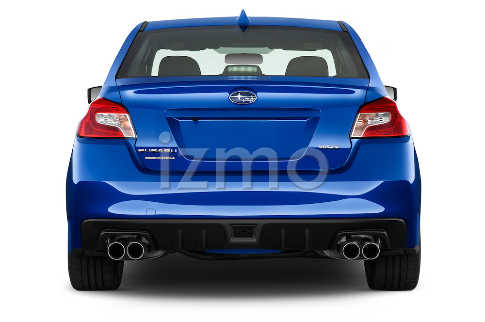 Straight rear view of a 2015 Subaru Wrx - 4 Door Sedan 2WD Rear View  stock images