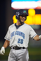 Lake County Captains catcher Juan De La Cruz (20) during a game against the Quad Cities River Bandits on May 6, 2017 at Modern Woodmen Park in Davenport, Iowa.  Lake County defeated Quad Cities 13-3.  (Mike Janes/Four Seam Images)